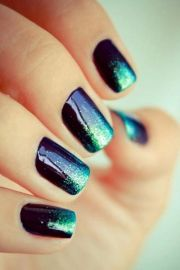teal nail design - pretty