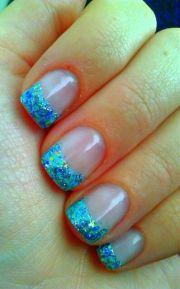 teal nail design - pretty