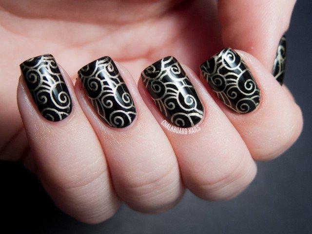 Tribal Golden Nails Art Design