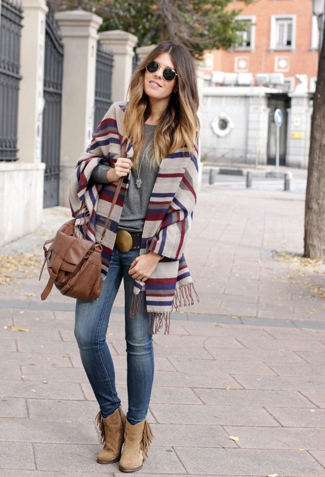 15 Highly Fashionable Poncho Outfit Ideas For Fall