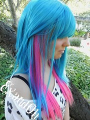 blonde with blue and pink ends