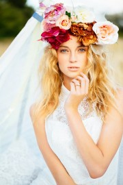 gorgeous floral crown hairstyle