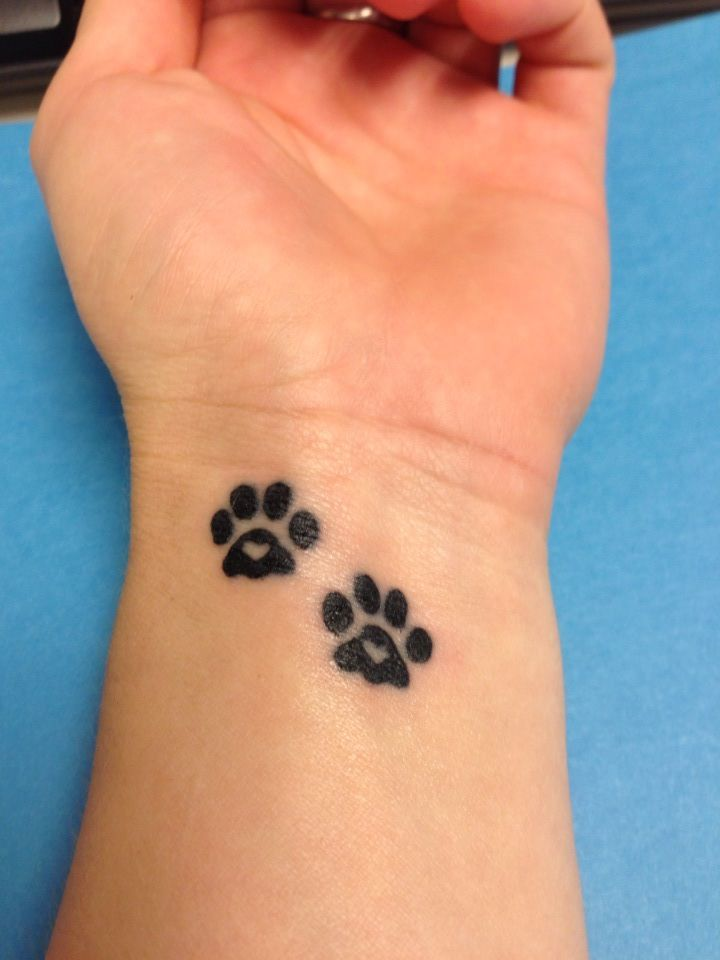 Dog Paw Print Heart Tattoo