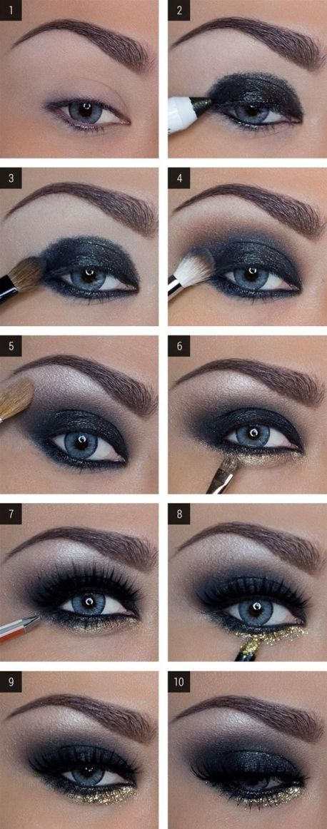 Dark Blue Smoky Eyes