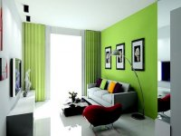 Home Decorating: Green Walls of Living Room - Pretty Designs
