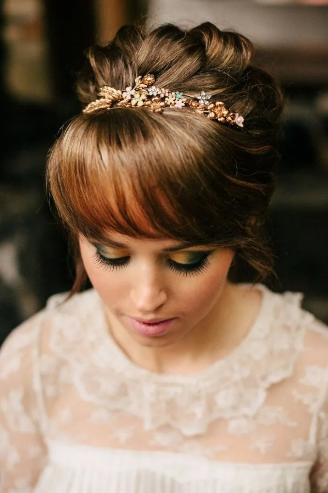 15 gorgeous bridal hair with bangs - pretty designs