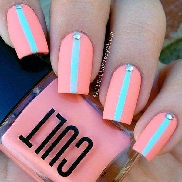 Pink And Green Nail Art Design