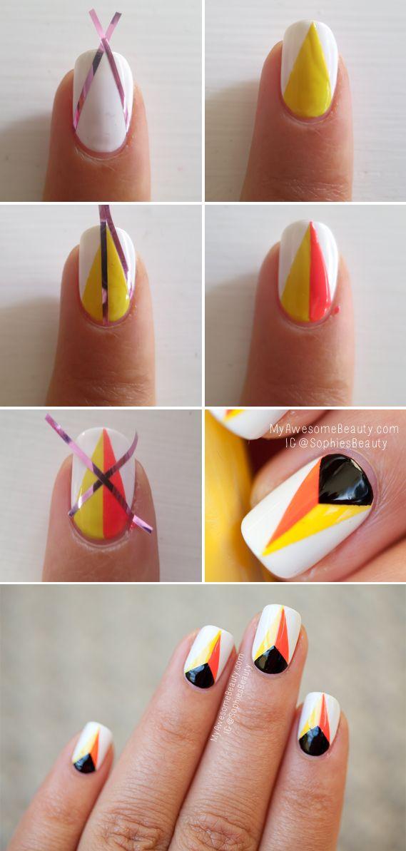 White And Orange Nail Design Tutorial