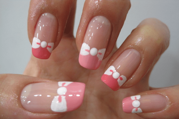 Pink And White Bow Nails