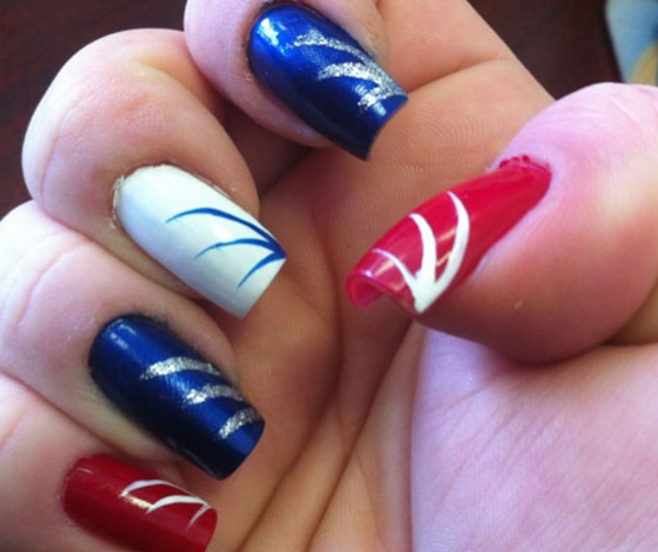 Red White And Blue Nail Art Designs 411