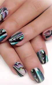 unique water marble nail design