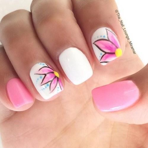 Beautiful White and Pink Nail Design