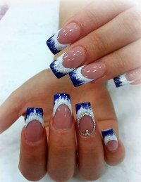 Blue French Tip Nail Designs Pictures to Pin on Pinterest