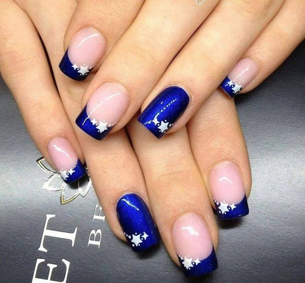 Blue French Tip Nail Design 35 Pretty Designs For 2017