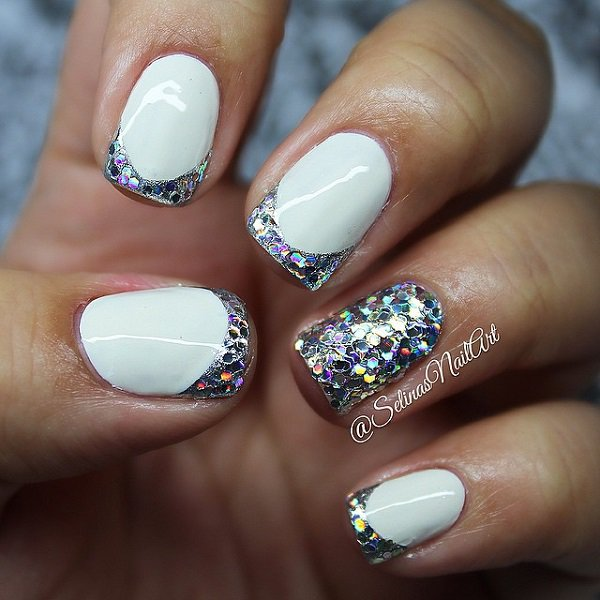 Glitter French Tip Acrylic Nail Design
