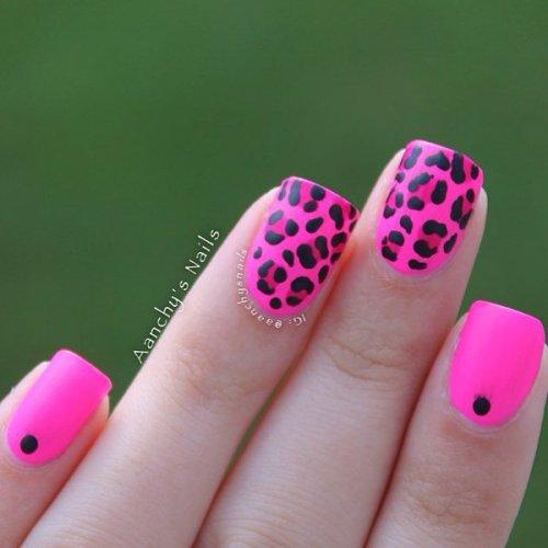 Pink Leopard Print Nail Design
