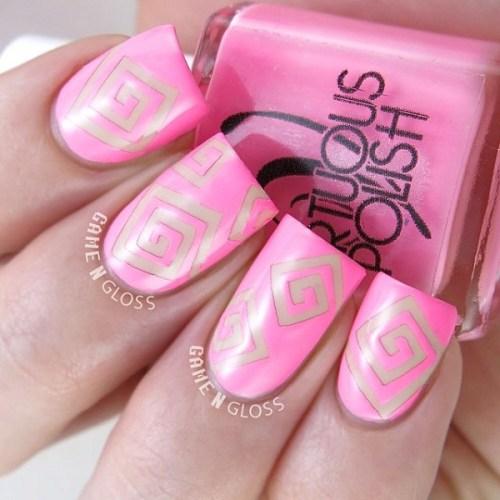 Pink and Silver Nail Design