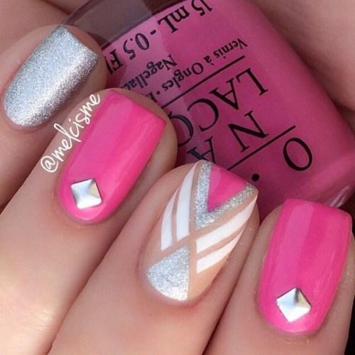 Studded Pink Nail Design