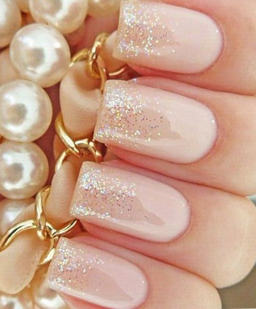 Glitter Pink Wedding Nails