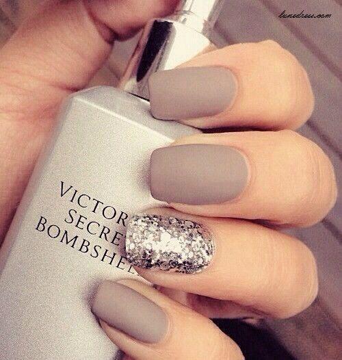 Grey Matte Wedding Nails