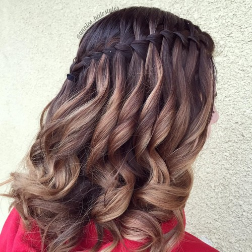 20 Pretty Cute Waterfall Hairstyles For Girls 2017 Easy