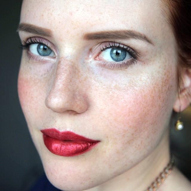 Image result for metallic red lipstick model