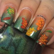 ombre nails with leaves - pretty