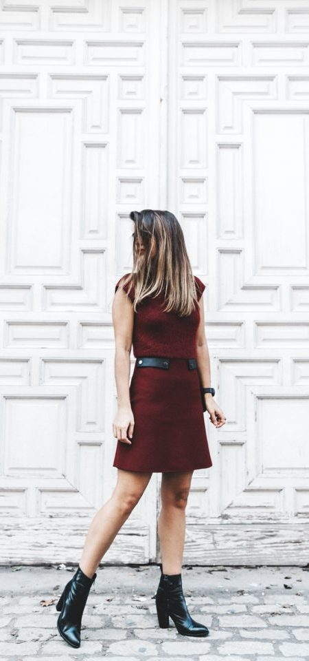 Burgundy Dress and Boots