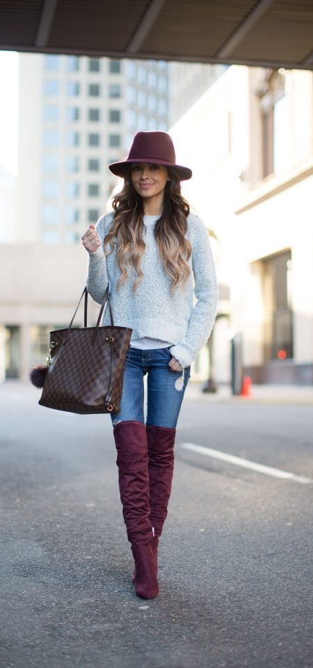 Burgundy Knee-high Boots