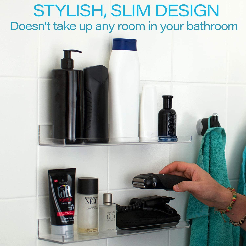 Acrylic Bathroom Shelves Set Of 2 Versatile Slim Space Saving