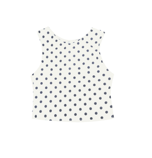 PRETTY DISTURBIA HANDMADE WHITE POLKA DOT SPOTTY CROP TOP