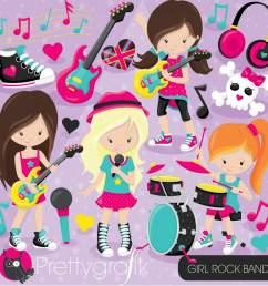 girl rock band clipart [ 2000 x 2000 Pixel ]