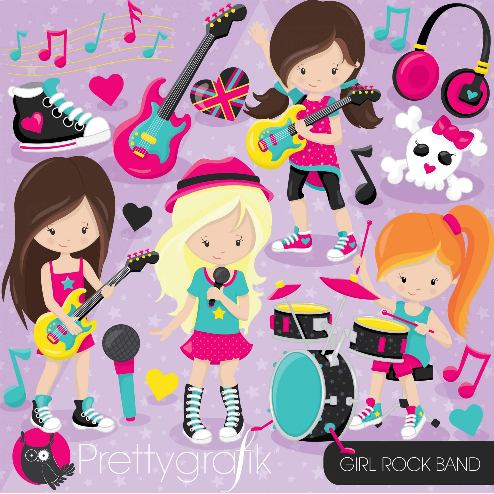 hight resolution of girl rock band clipart