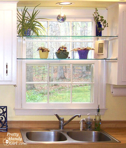 DIY Glass Window Shelves - Pretty Handy Girl