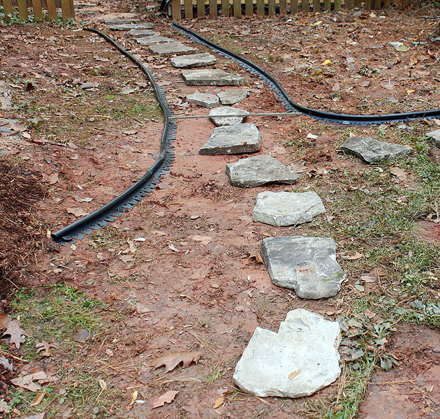 set stones inside edging