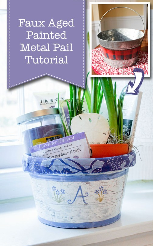 DIY Aged Painted Metal Pail Tutorial
