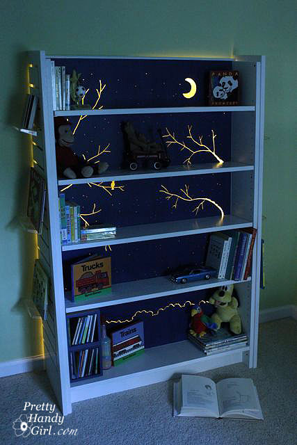 backlit bookcase