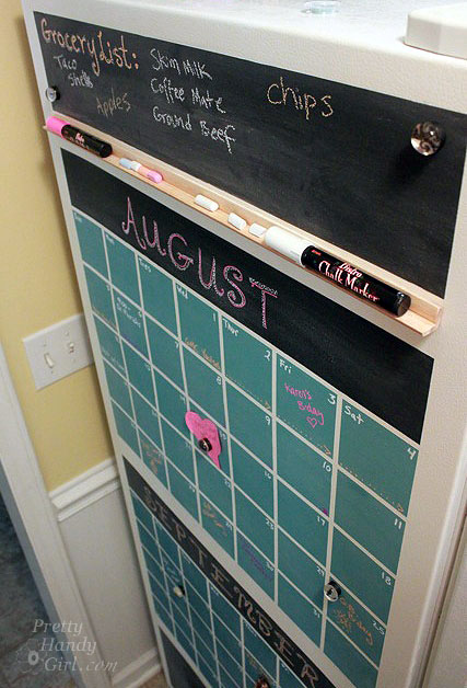 chalkboard paint projects - chalkboard calendar for refrigerator