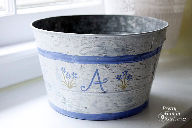 Aged Painted Pail
