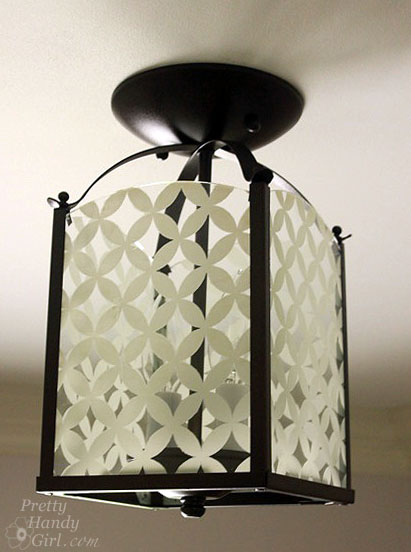 Circle Diamond Screen Printed Glass Light Makeover