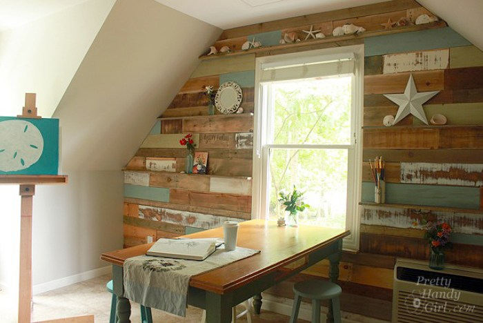 install scrap wood wall with built in ledges
