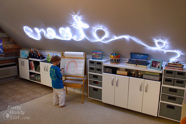create rope light wall art