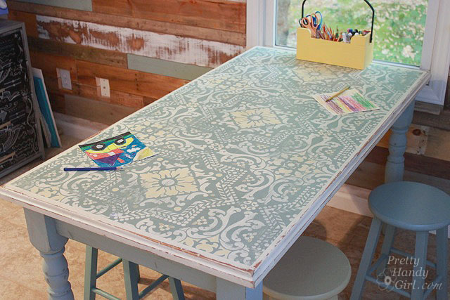 Chalk Painted Stenciled And Distressed Dumpster Table Pretty Handy Girl