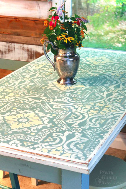 Table painted, stenciled and distressed