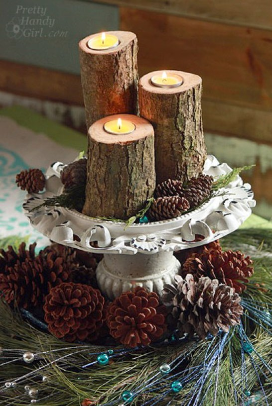 clever holiday decor - log pillar candles