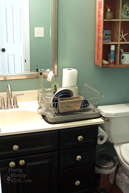 kitchen sink without cabinet pfister faucet repair how to survive a during renovation pretty handy girl http www prettyhandygirl com wp content uploads 2013 02 doing dishes in bathroom jpg