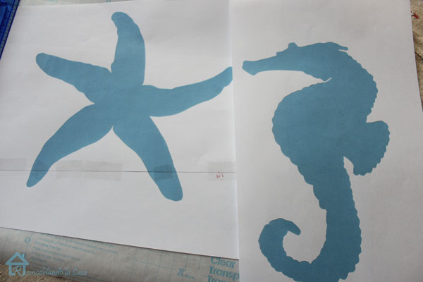 starfish and seahorse silhouttes