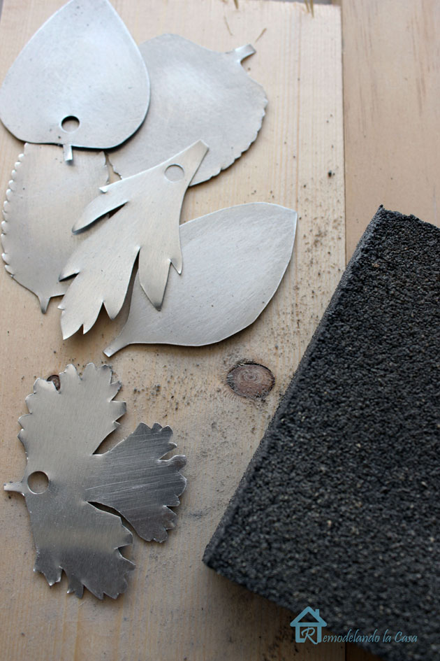 distressing shiny metal tags