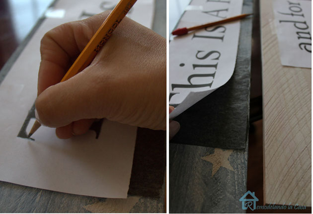 transfering letters onto wood