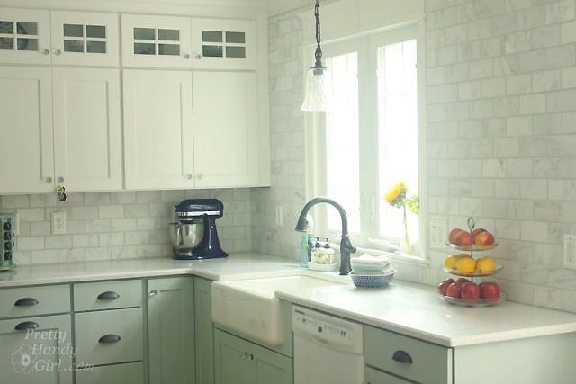 How To Tile A Backsplash Part 1 Tile Setting Pretty Handy Girl,Rustic Grey Distressed Kitchen Cabinets